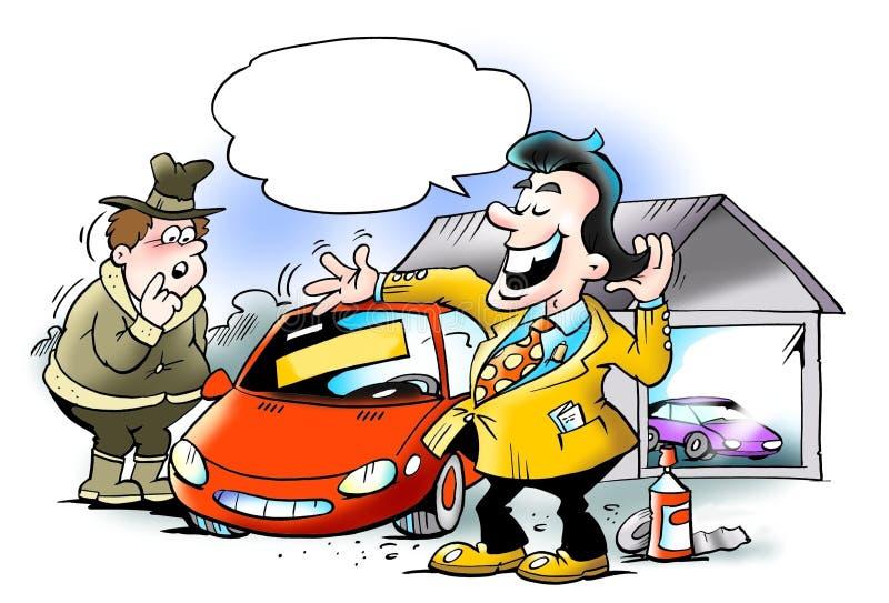 Clientes de engaño del vendedor ostentoso del coche libre illustration