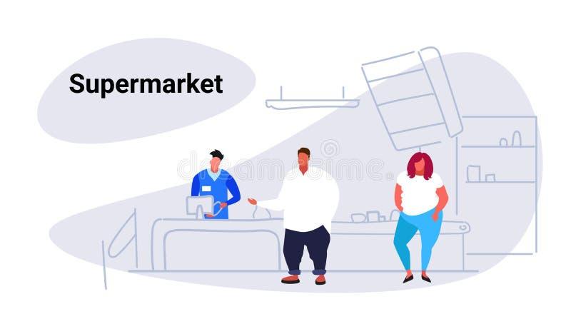 Clientes excessos de peso da mulher do homem que estão na linha na mesa de dinheiro com o supermercado de compra da loja de manti ilustração do vetor