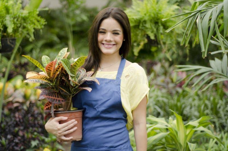 Clientes felices del saludo del jardinero imagen de archivo libre de regalías