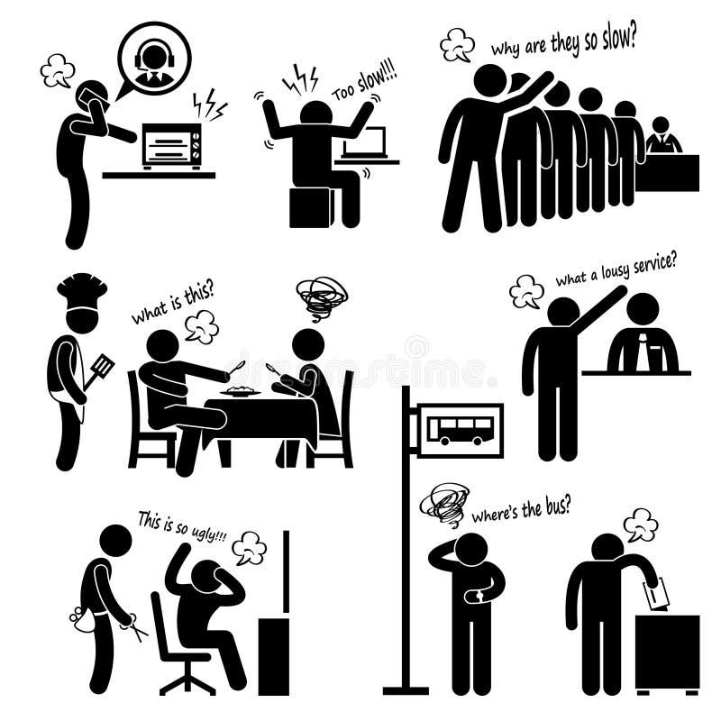 Clientes infelizes irritados que queixam-se ilustração do vetor