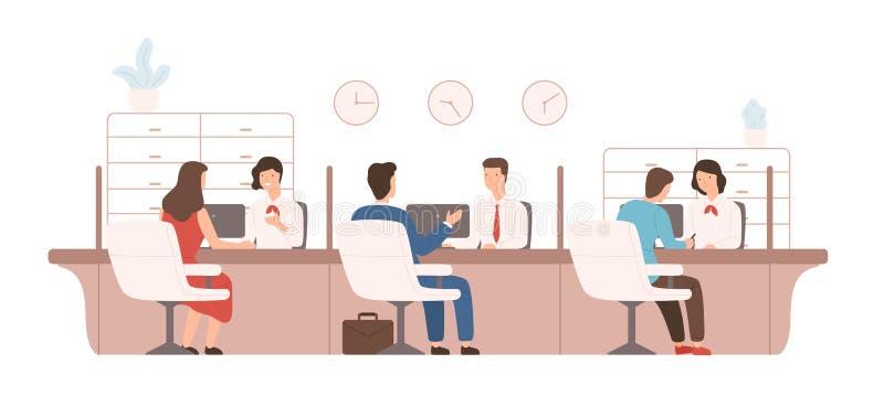 Clientes masculinos e fêmeas que sentam-se e que falam aos gerentes ou aos analistas do departamento de crédito Fornecimento dos  ilustração stock