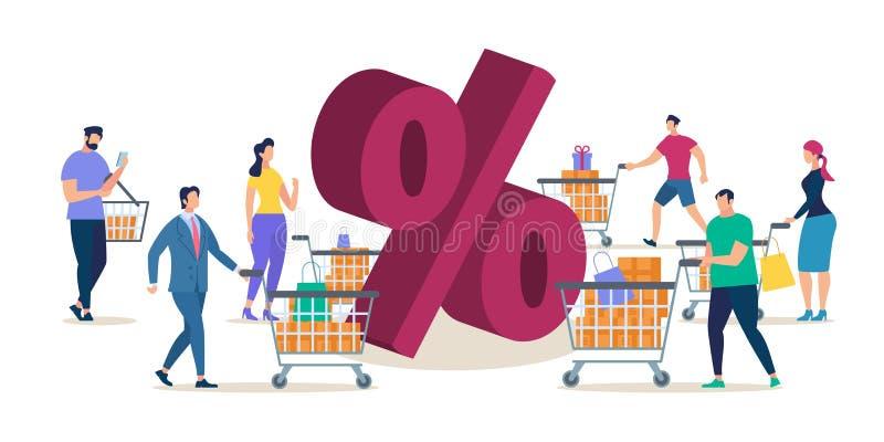 Clientes que compram no conceito liso do vetor da venda da loja ilustração royalty free