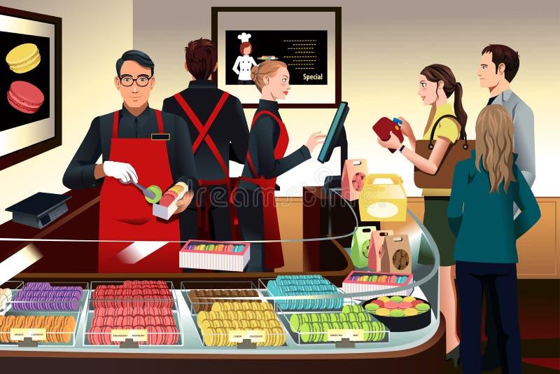Clientes que compran macarrones ilustración del vector