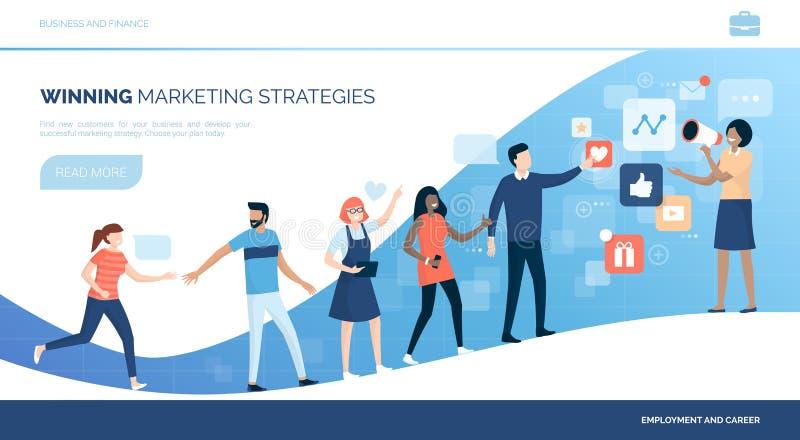 Clientes que ganan con estrategias de marketing ilustración del vector