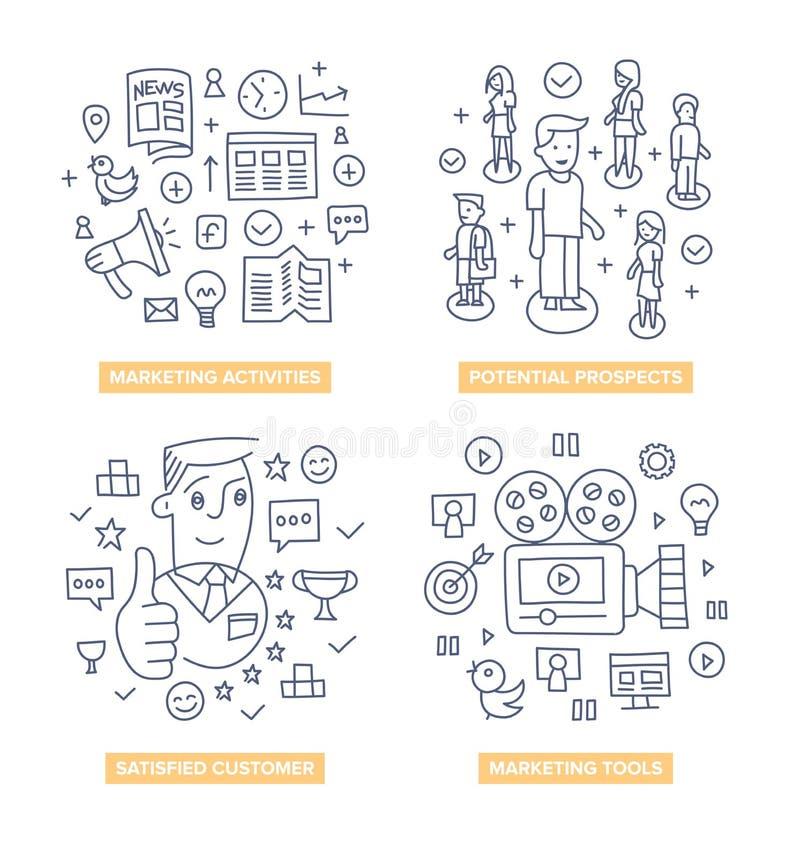 Clientes que introduzem no mercado conceitos da garatuja ilustração stock