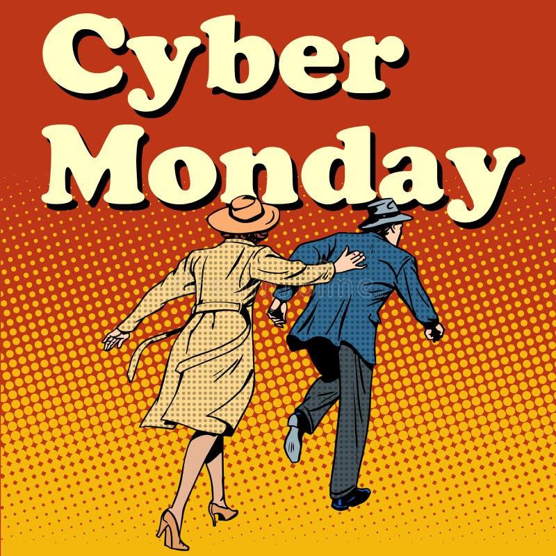 Clienti cyber di lunedì fatti funzionare sulla vendita illustrazione vettoriale