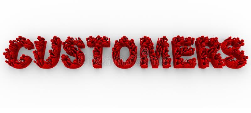 Clienti - la gente sulle lettere forma la parola illustrazione vettoriale