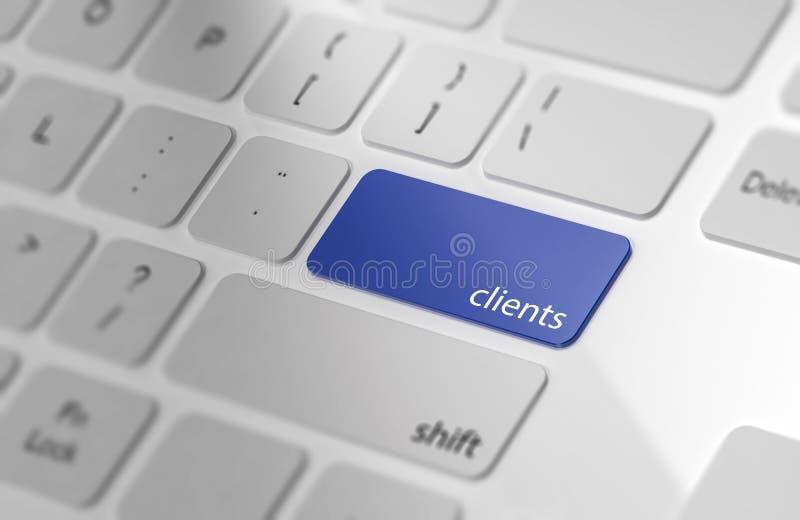 Clients - bouton sur le clavier d'ordinateur illustration de vecteur
