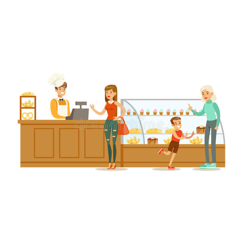 Clients Choosing And Buying Pastry At The Cashier Of The Bakery Shop Vector Illustration royalty free illustration