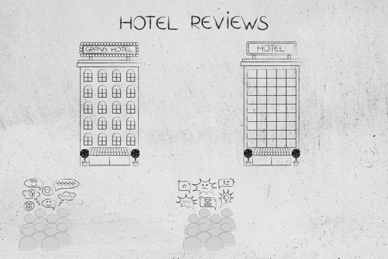 Clients devant des hôtels avec les commentaires positifs et négatifs illustration stock