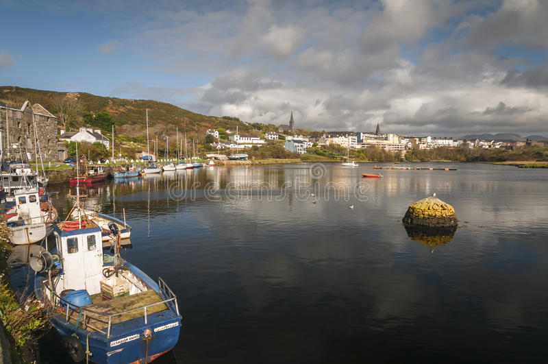 Clifden Harbour. A landscape image of Clifden harbour in Connemara, County Galway, Ireland stock images