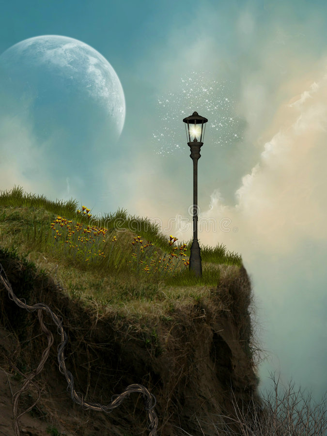 Cliff. With lamp and moon