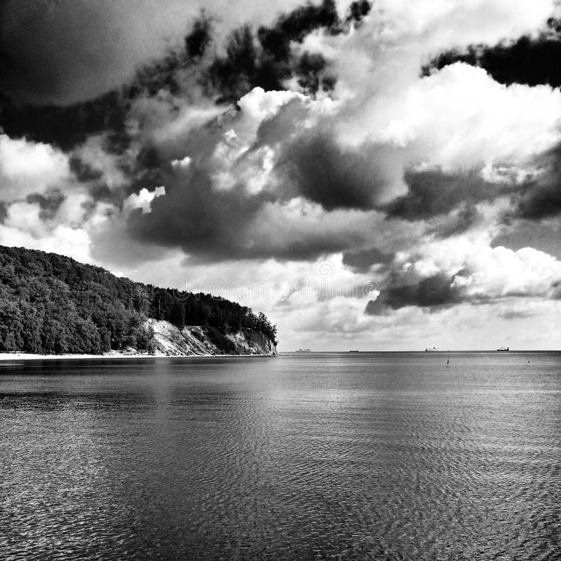 The cliff. Artistic look in black and white. royalty free stock photography