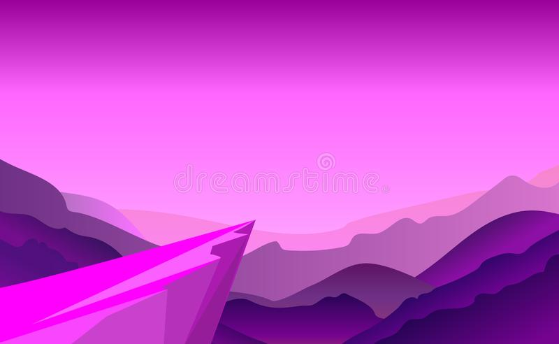 Cliff background violet where adventure in jungle. Stand on cliff look to the moon in around with mountains in a night. Vector. Illustration. Mountains and stock illustration