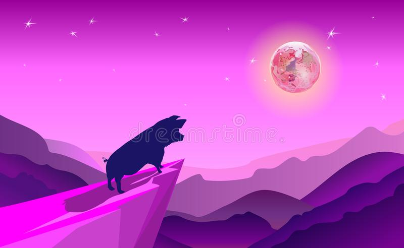 Cliff background violet where pig take adventure in jungle. Stand on cliff look to the moon in around with mountains in a night wi. Th stars. Silhouette stylish vector illustration