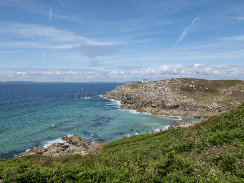 Cliff on the Breton coast in the Celtic Sea. stock photos