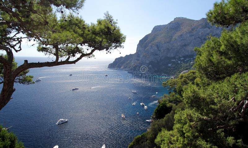 Cliff in Capri island. Cliff in the south coast of Capri island in Italy royalty free stock photo