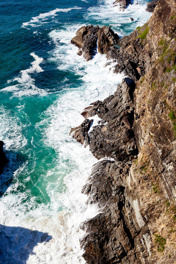 Cliff Coastline bei Forster, New South Wales, Australien stockfotos