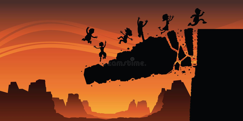 Cliff Collapse stock illustration