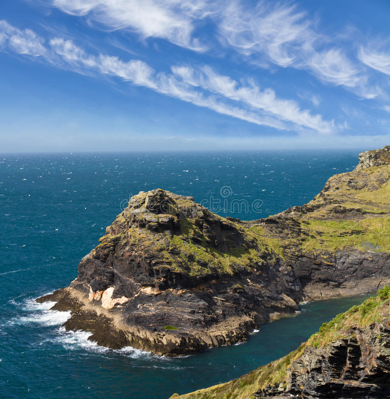 Cliff at Cornish coast near Boscastle, Cornwall stock photography