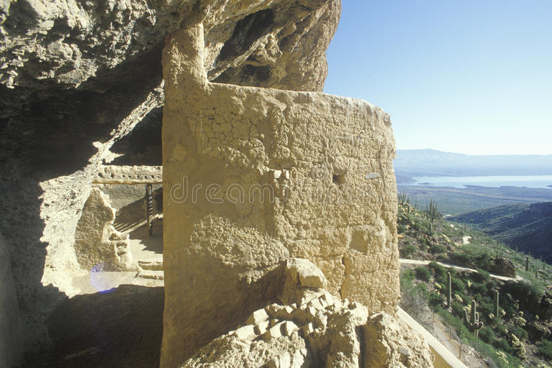 Cliff dwellings, circa 1400 AD, and Roosevelt Lake, Tonto National Monument, AZ stock photography