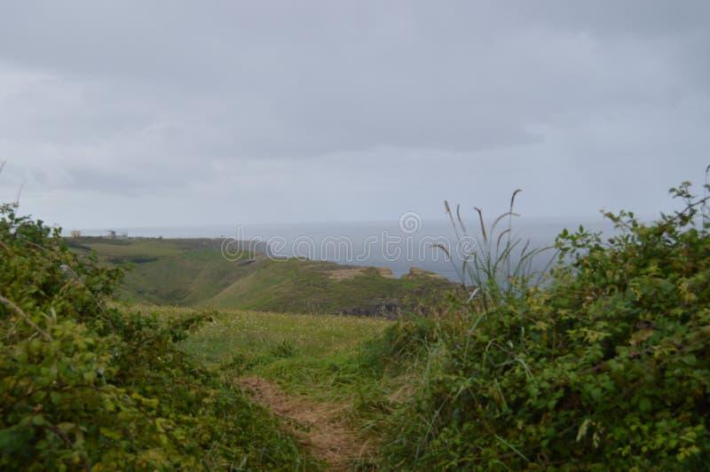 Cliff With een Grote Groene Weide in Santander royalty-vrije stock fotografie