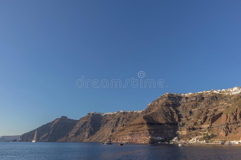 Cliff of fira, view of the sea. Santorini Greece. royalty free stock photography