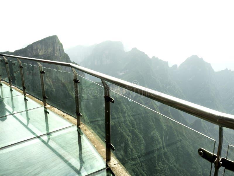 Cliff Glass Sky Walk at Tianmen Mountain, The Heaven`s Gate at Zhangjiagie, Hunan Province, China, Asia.  stock photography