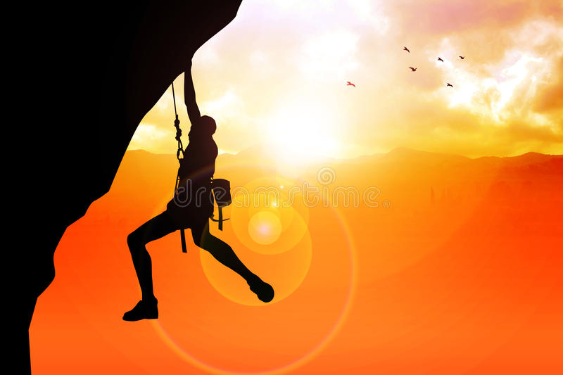 Cliff Hanger. Silhouette illustration of a man figure hanging on the cliff