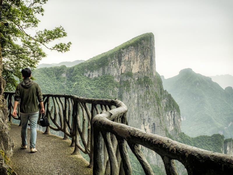 The Cliff Hanging Walkway at Tianmen Mountain, The Heaven`s Gate at Zhangjiagie, Hunan Province, China, Asia royalty free stock photo