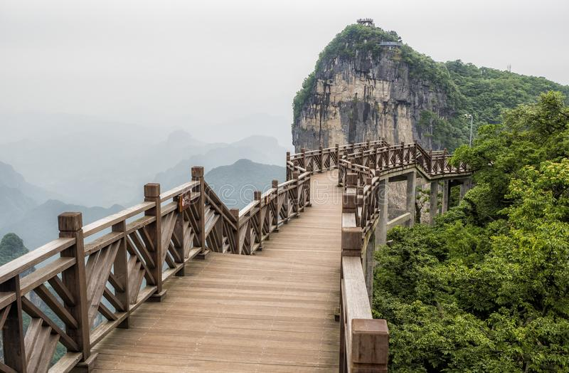 The Cliff Hanging Walkway at Tianmen Mountain, The Heaven`s Gate at Zhangjiagie, Hunan Province, China, Asia.  royalty free stock images