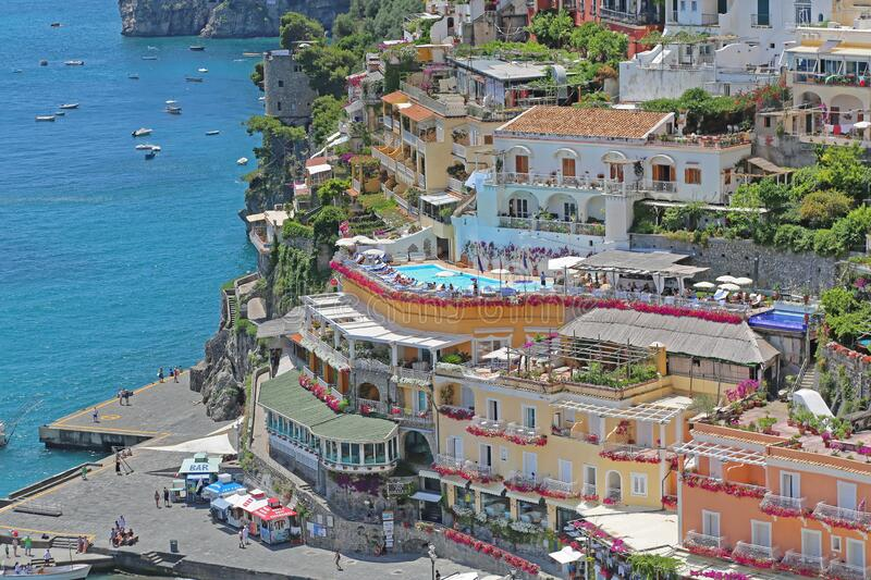 Cliff Hotel Positano. Positano, Italy - June 27, 2014: Hotel With Swimming Pool at Cliff in Town Positano at Amalfi Coast in Italy royalty free stock images