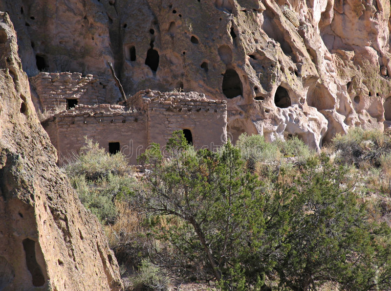 Cliff house. Anasazi native American dwelling, Bandelier National Monument, New Mexico, USA stock photo