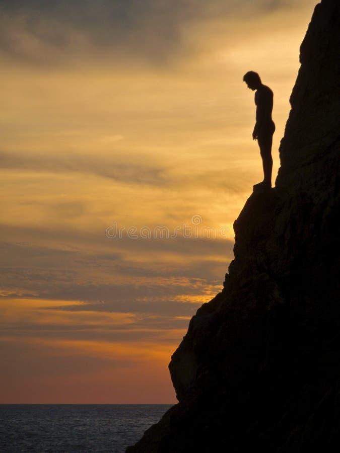 Cliff jumper. In Acapulco, Mexico stock photos