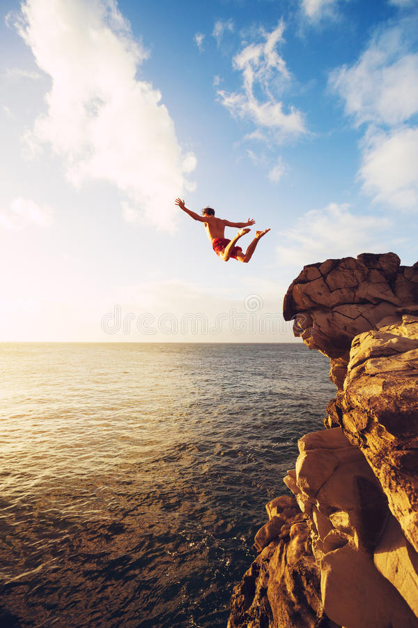 Cliff Jumping stock foto