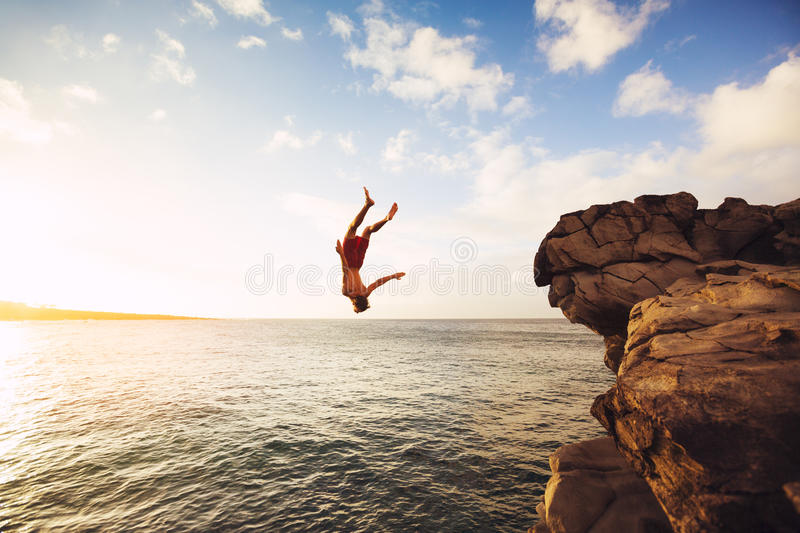 Cliff Jumping stock afbeelding