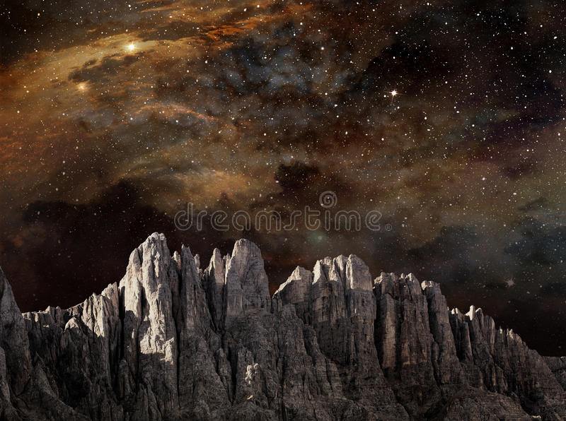 Cliff in lunar landscape royalty free illustration