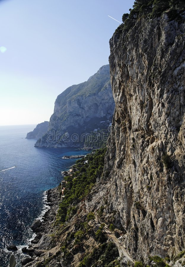 Cliff and Marina Piccola Capri Island. A steep Cliff and Via Krupp to Marina Piccola in the Island of Capri. The small path is Via Krupp. South of Italy royalty free stock images