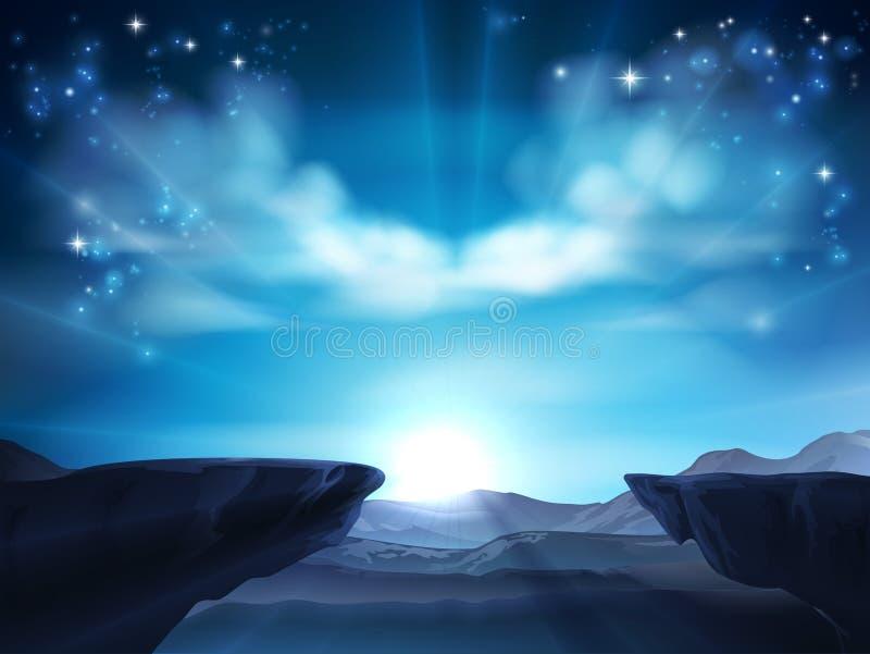 Cliff Mountain Sunrise Background illustration de vecteur