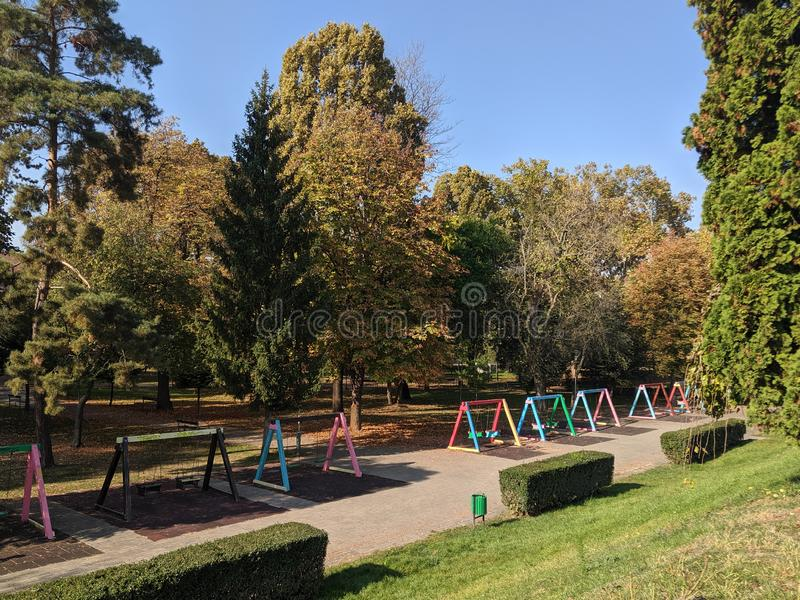 Children`s Park - Cliff of Mures river, - Arad, Romania. Cliff of Mures river, Children`s Park on a sunny autumn day - Arad, Romania stock photography