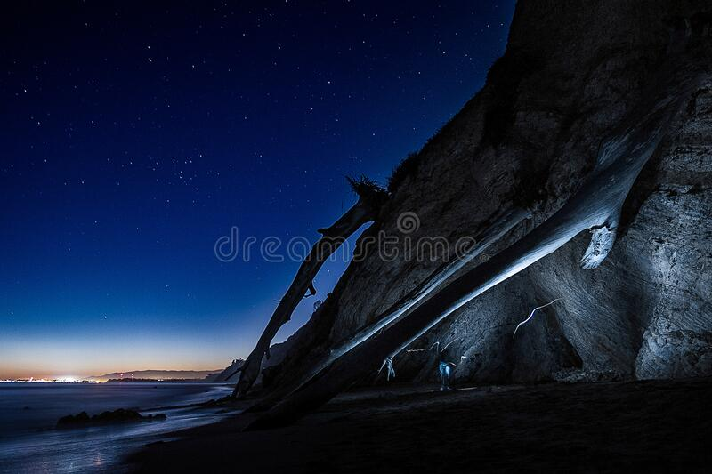 Cliff At Night With Starry Skies Free Public Domain Cc0 Image