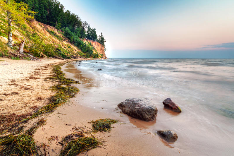 Cliff of Orlowo at Baltic sea stock images