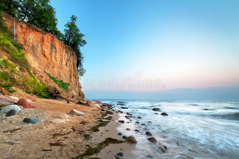Cliff of Orlowo at sunset stock images