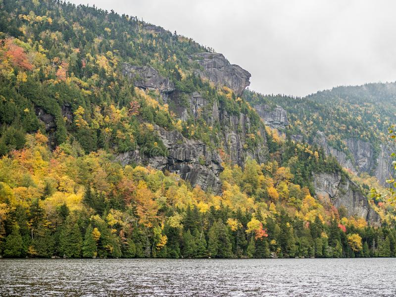 Cliff over Lower Ausable Lake in Adirondacks royalty free stock images