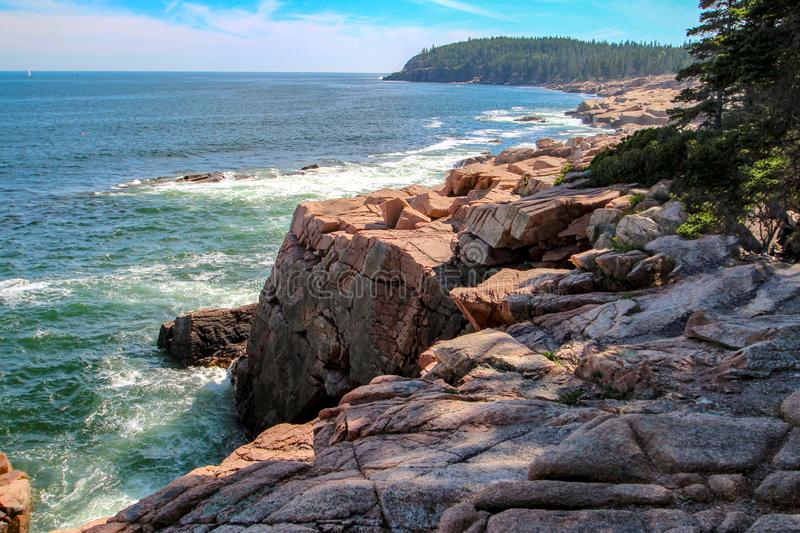 Cliff Overlooking Frenchman`s Bay royalty free stock photography