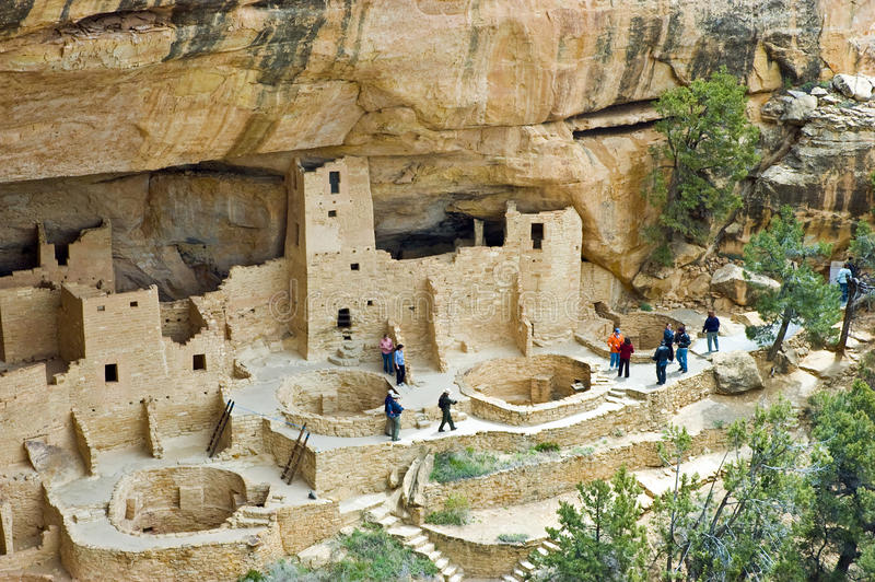 Cliff Palace, Mesa Verde. Cliff Palace, one of the most spectacular ancient cliffside villages of the ancient Anasazi people on the mesa top at Mesa Verde stock images