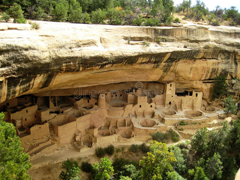 Cliff Palace in Mesa Verde National Park (Colorado, U.S.A.) fotografia stock