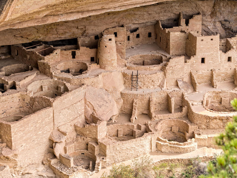 Cliff Palace Ruins, Mesa Verde fotografia de stock royalty free