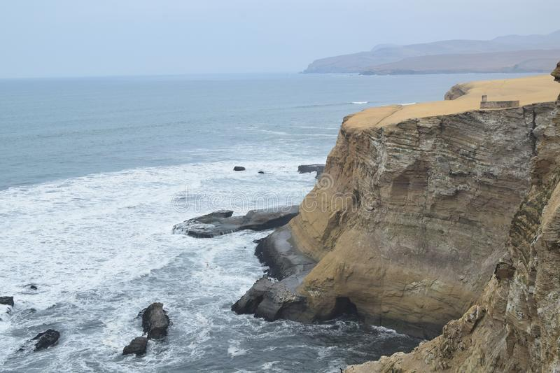 Cliff of paracas in peru stock image