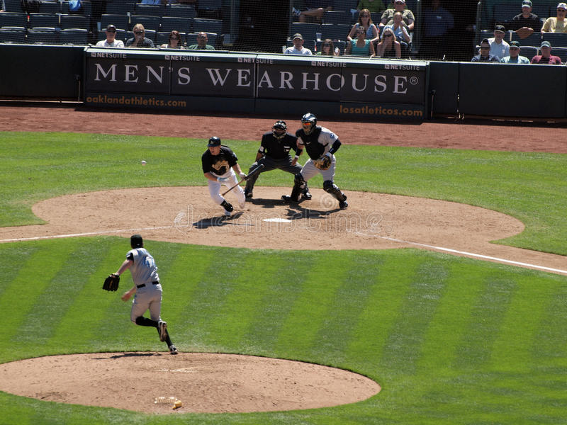 Cliff Pennington bunts ball and begins to run royalty free stock images